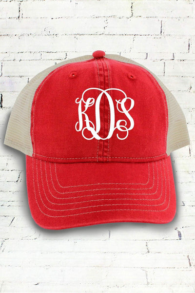 Red and Ivory Comfort Colors Unstructured Trucker Cap #CC0105 (PLEASE ALLOW 3-5 BUSINESS DAYS. EXPEDITED SHIPPING N/A)