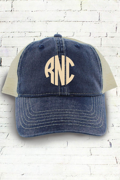 True Navy and Ivory Comfort Colors Unstructured Trucker Cap #CC0105 (PLEASE ALLOW 3-5 BUSINESS DAYS. EXPEDITED SHIPPING N/A)
