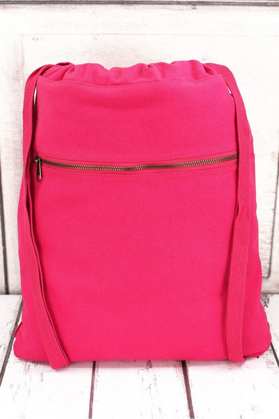 Raspberry Comfort Colors Canvas Drawstring Backpack