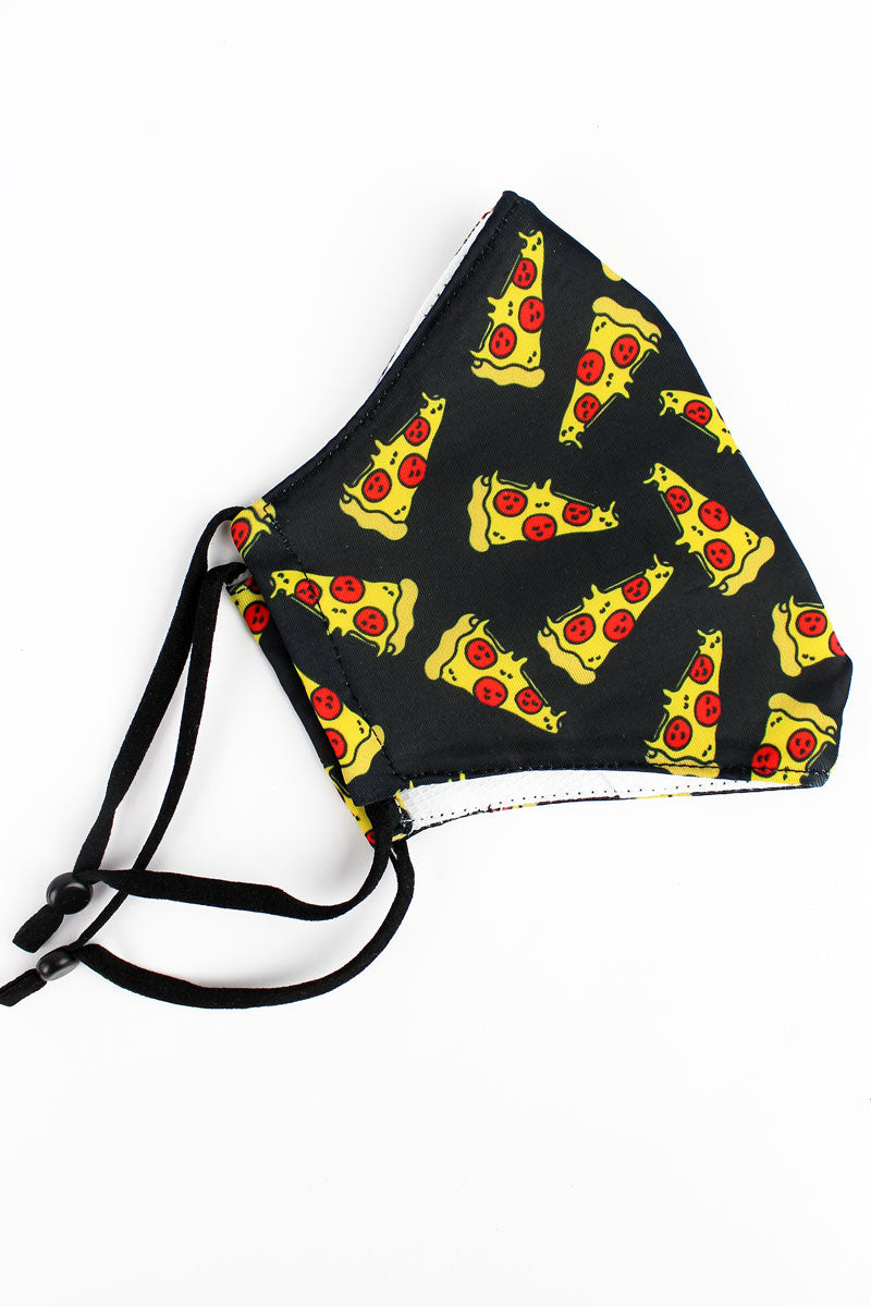 Kid's Pizza Slices Two-Layer Fashion Face Mask with Filter Pocket