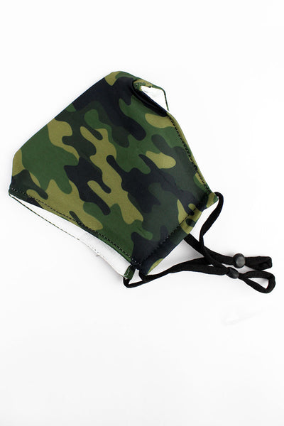 SALE! Camo Two-Layer Fashion Face Mask with Filter Pocket