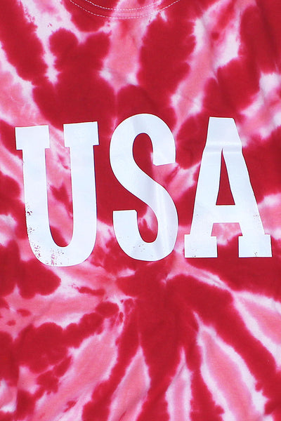 Distressed USA Red Tie Dye Tee