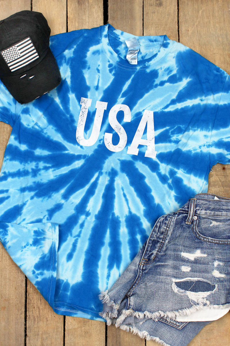 Distressed USA Royal Tie Dye Tee