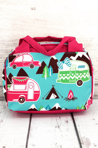 NGIL Happy Camper Insulated Bowler Style Lunch Bag with Hot Pink Trim