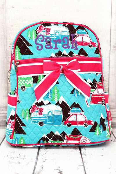 NGIL Happy Camper Quilted Backpack with Hot Pink Trim