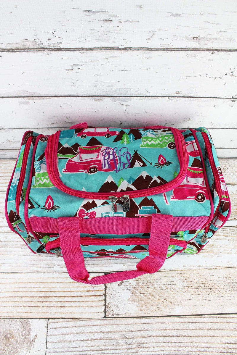 NGIL Happy Camper Duffle Bag with Hot Pink Trim 17""