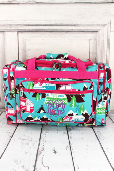 "NGIL Happy Camper Duffle Bag with Hot Pink Trim 20"" #CMP420-HPINK"