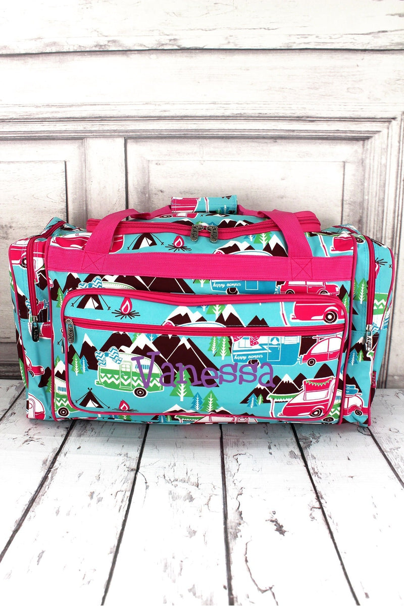 "NGIL Happy Camper Duffle Bag with Hot Pink Trim 23"" #CMP423-HPINK"