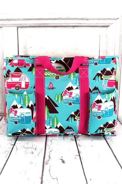 NGIL Happy Camper with Hot Pink Trim Large Organizer Tote