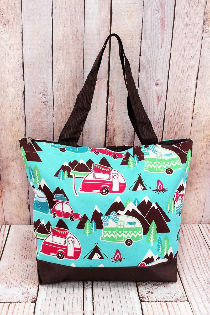 NGIL Happy Camper with Brown Trim Tote Bag