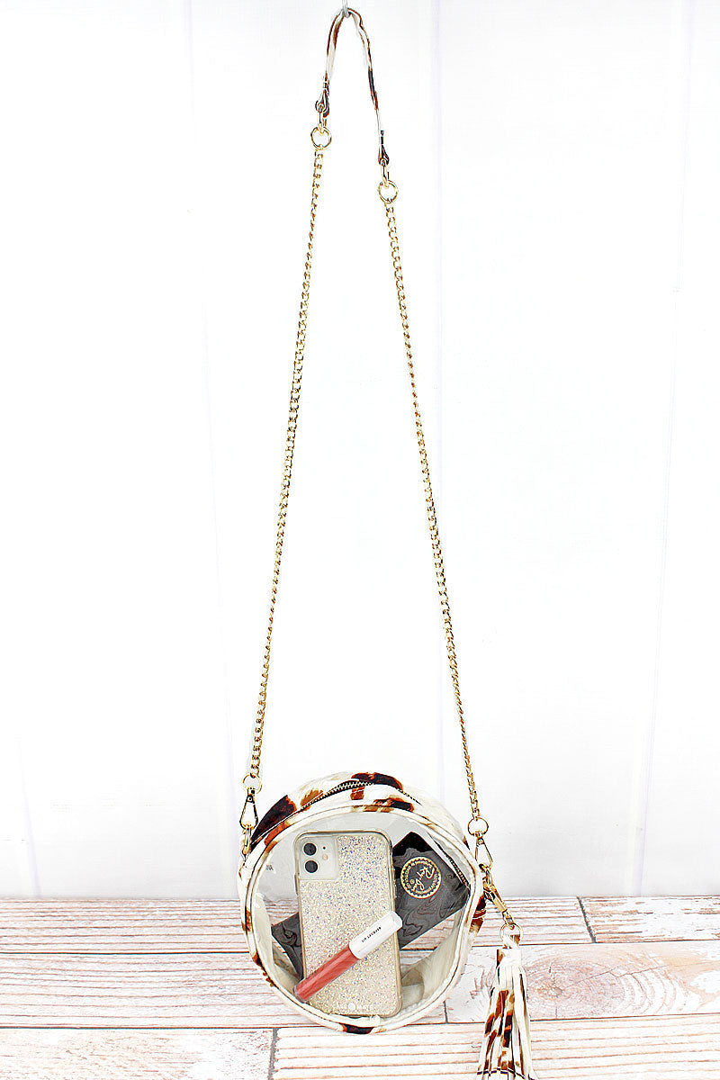 NGIL Clear Round Crossbody Bag with Till The Cows Come Home Trim