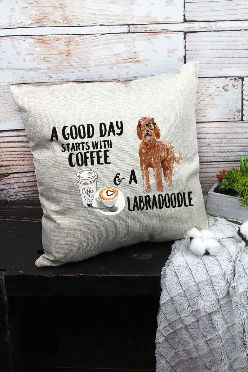 Coffee And Labradoodle Decorative Pillow Cover