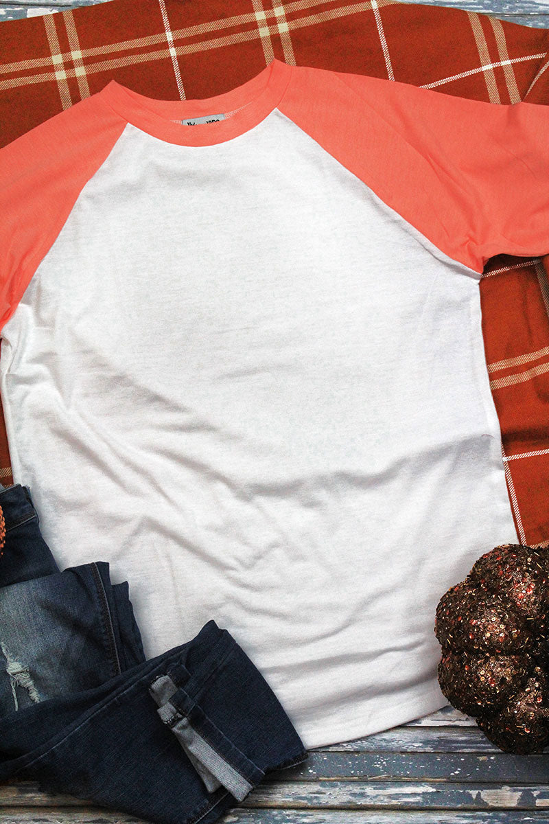 PRE-ORDER* Sunset Coral and White 3/4 Sleeve Raglan Tee **EXPECTED SHIP DATE 12/2**