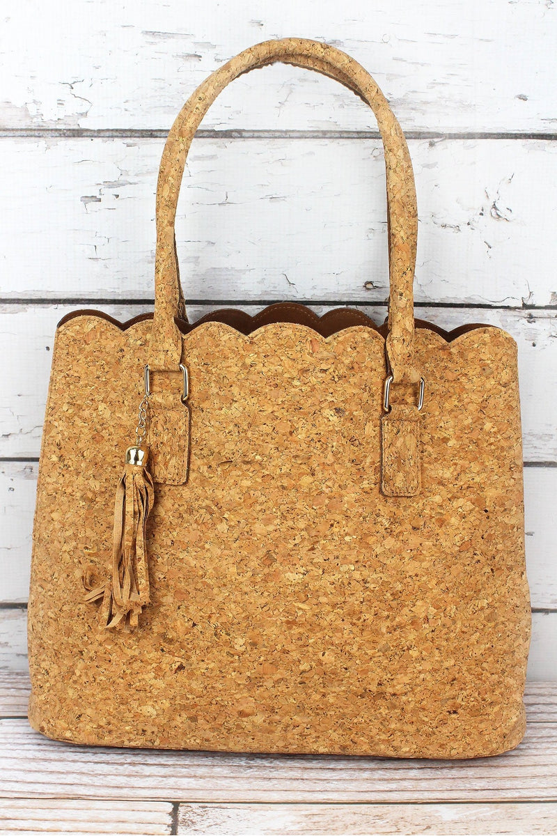 NGIL Gold Glimmer Cork Scalloped Tote