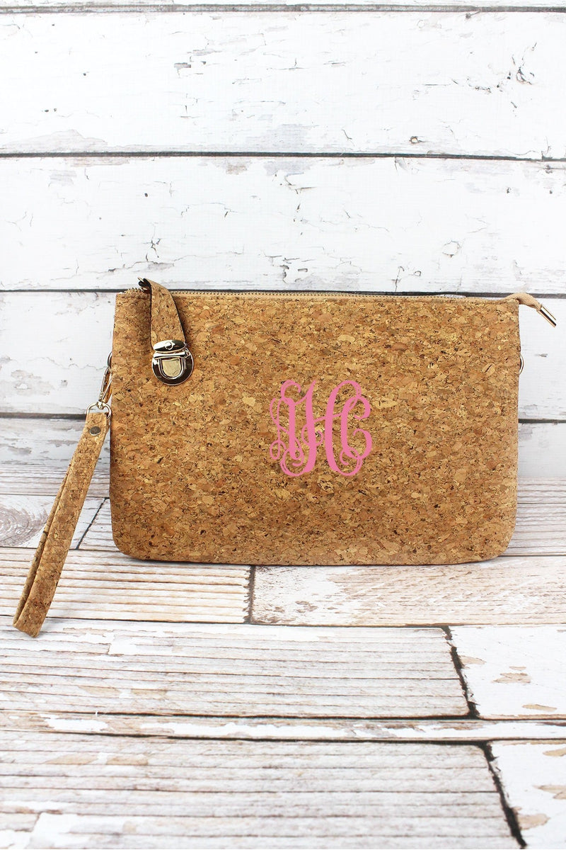 NGIL Gold Glimmer Cork Buckle Lock Crossbody Clutch