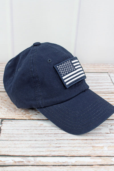 Navy Detachable USA Flag Patch Cap