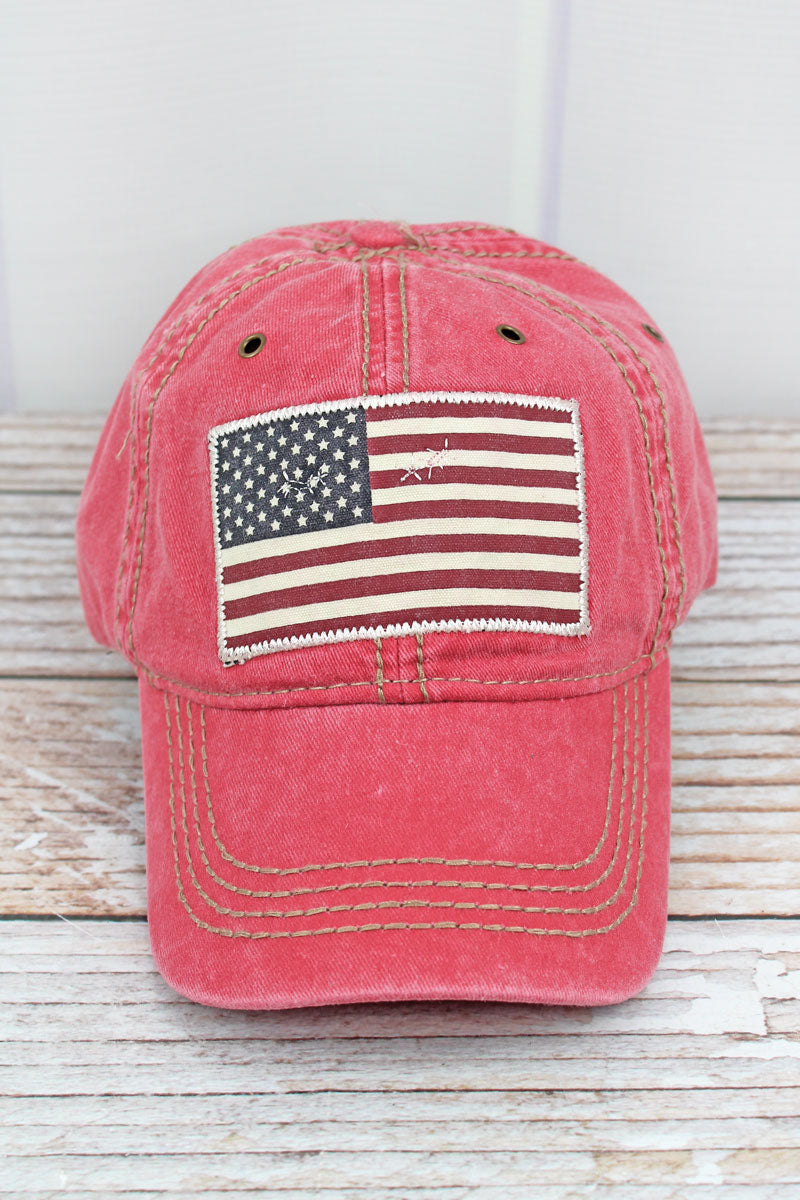 Washed Red USA Flag Cap