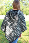 SALE! Color Palette Hooded Poncho, Black