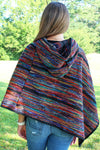SALE! Color Palette Hooded Poncho, Blue