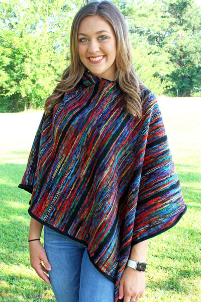 Color Palette Hooded Poncho, Blue