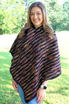 Color Palette Hooded Poncho, Purple