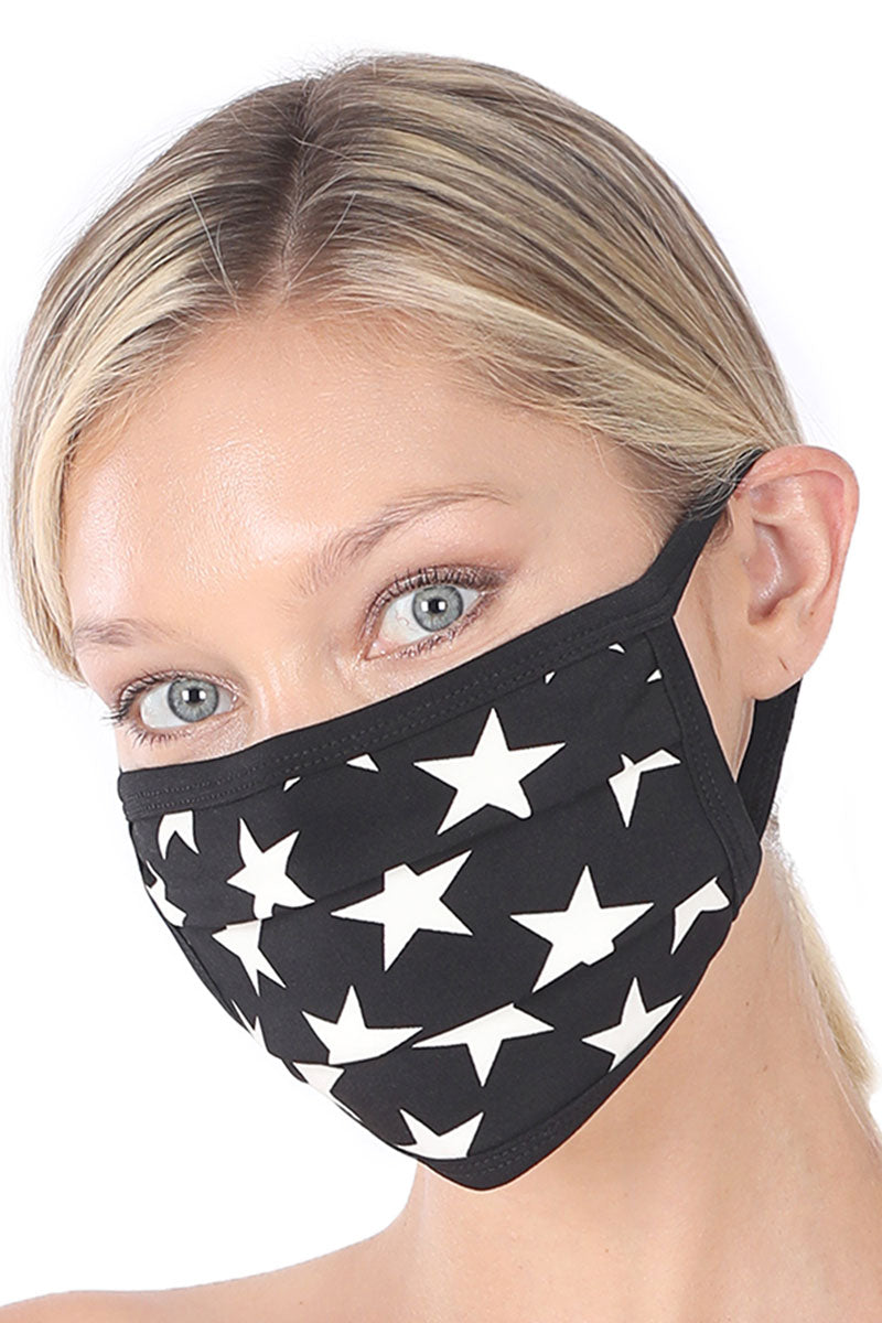 Black and Ivory Star Two-Layer Pleated Fashion Face Mask