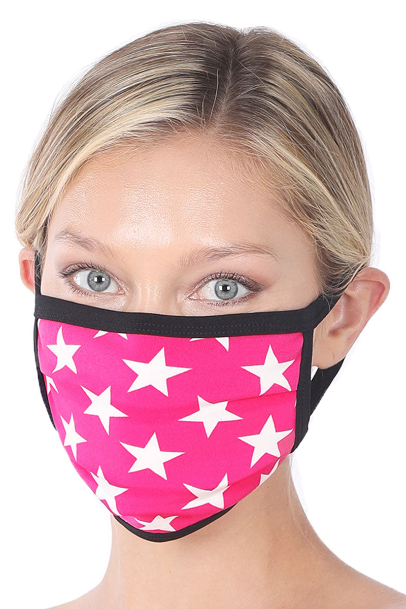 Hot Pink and Ivory Star Two-Layer Pleated Fashion Face Mask