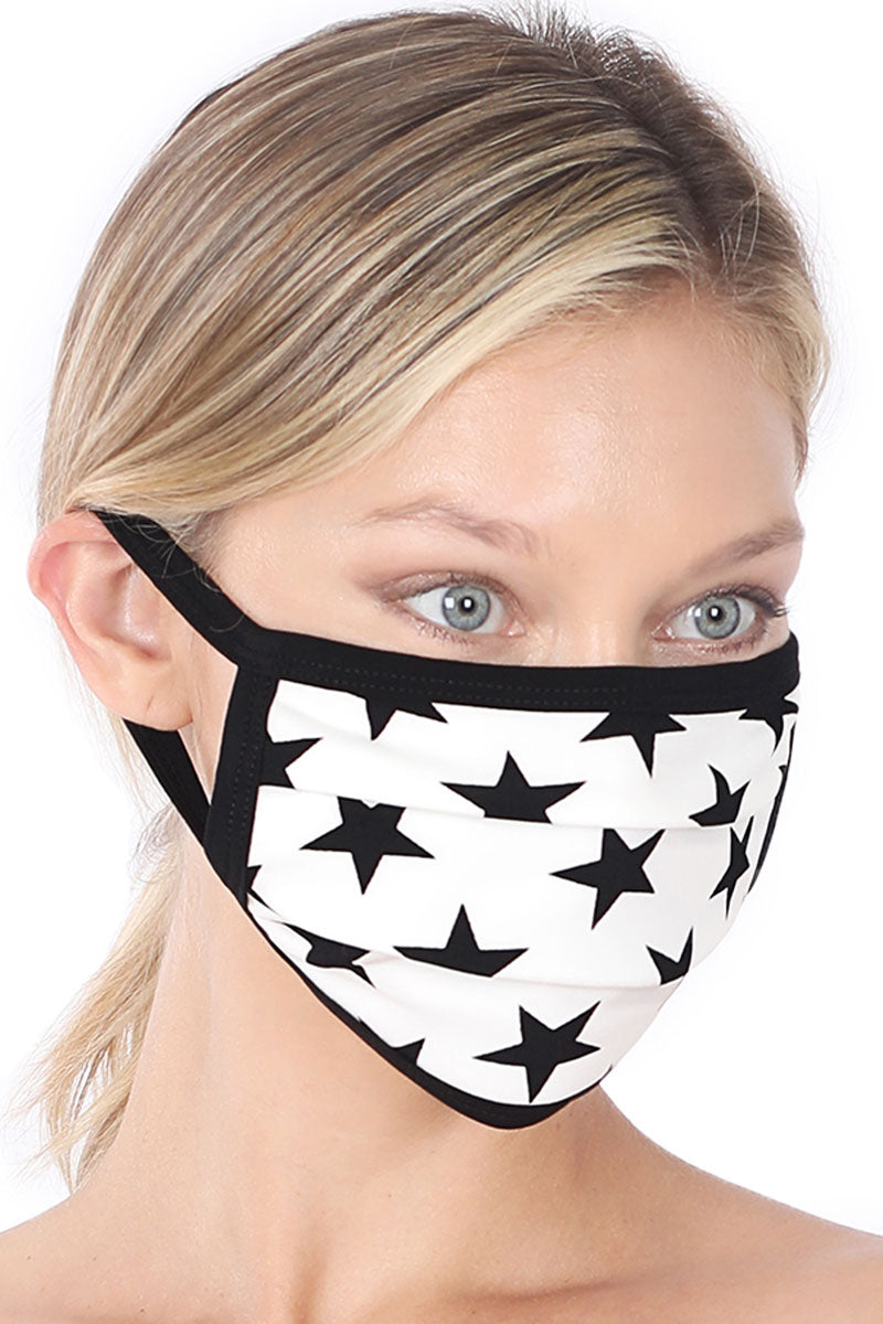 Ivory and Black Star Two-Layer Pleated Fashion Face Mask