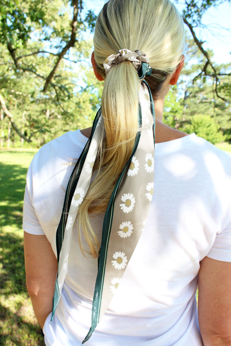 Daisy Delight Beige Satin Ponytail Scarf