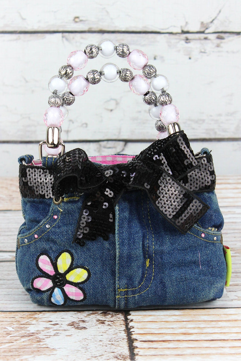 NGIL Gingham Flower Baby Denim Jeans Box Bag with Beaded Handles