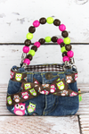 NGIL Owls Baby Denim Jeans Box Bag with Beaded Handles