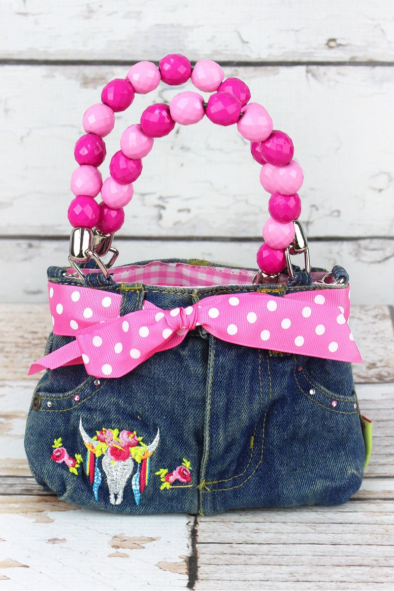 NGIL Free Spirit Steer Baby Denim Jeans Box Bag with Beaded Handles