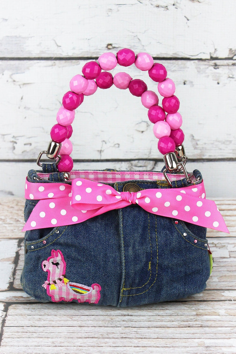 NGIL Pink Gingham Llama Baby Denim Jeans Box Bag with Beaded Handles