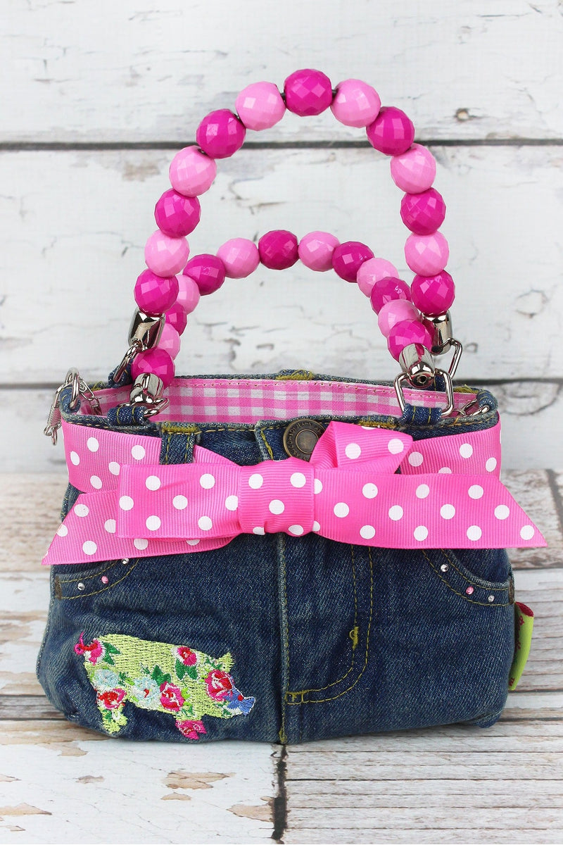 NGIL Floral Pig Baby Denim Jeans Box Bag with Beaded Handles