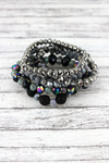 Black Lava Stone and Faceted Bead Bracelet Set