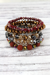 Coral Lava Stone and Faceted Bead Bracelet Set