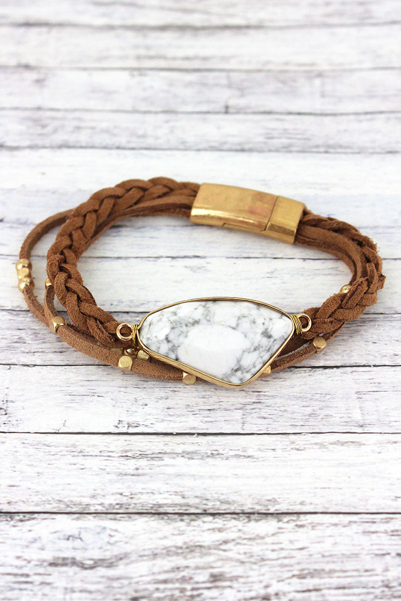 Goldtone Trimmed White Stone Faux Leather Multi-Cord Bracelet