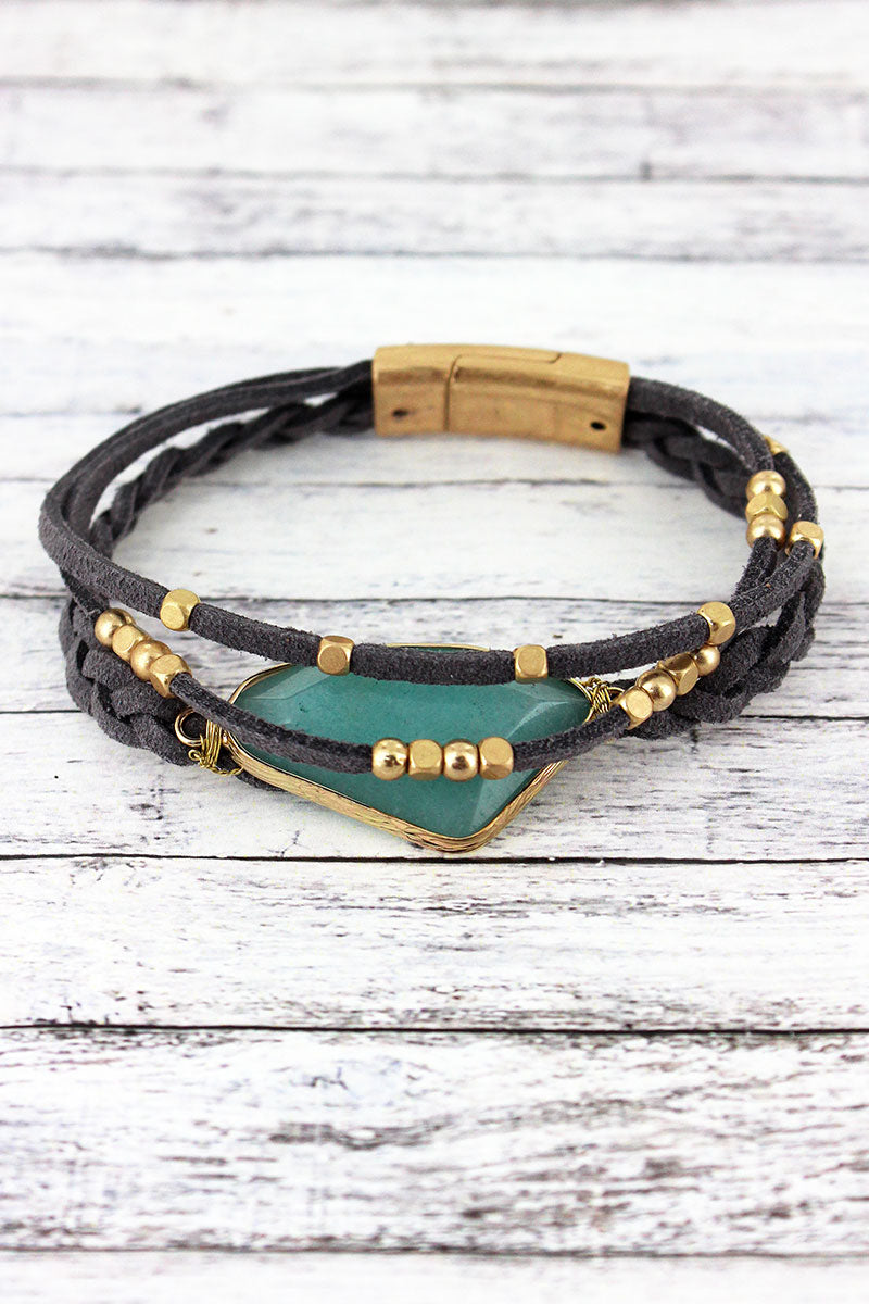 Goldtone Trimmed Green Stone Faux Leather Multi-Cord Bracelet