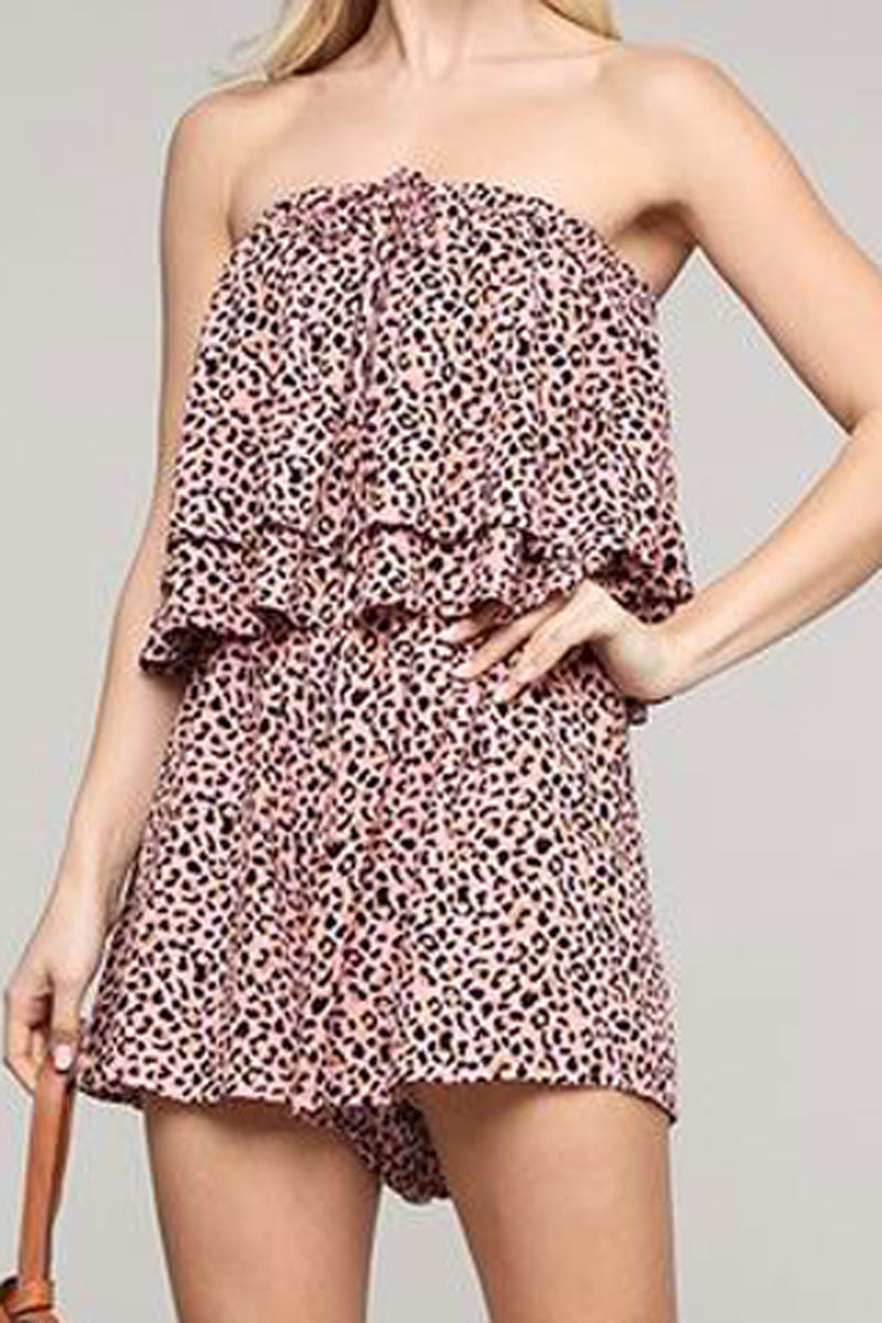 Blush Leopard Halter Neck Layered Tube Romper