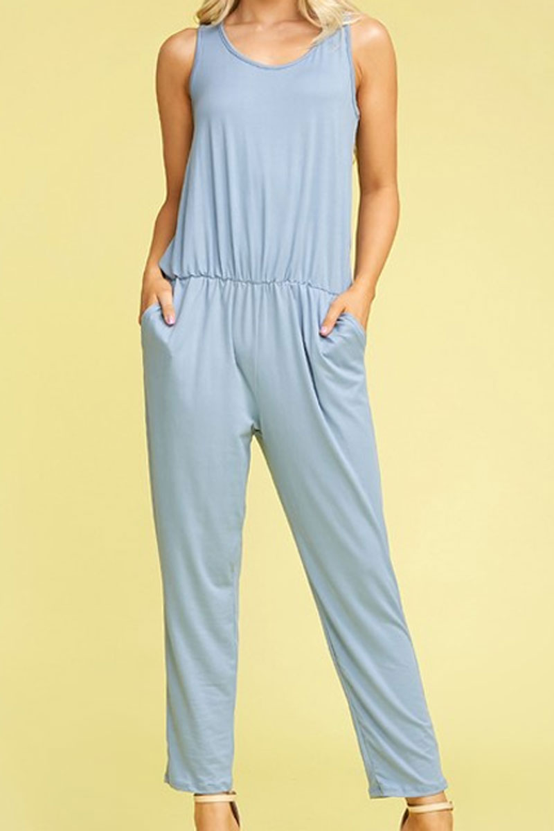 Denim Blue Sleeveless Pocket Jumpsuit