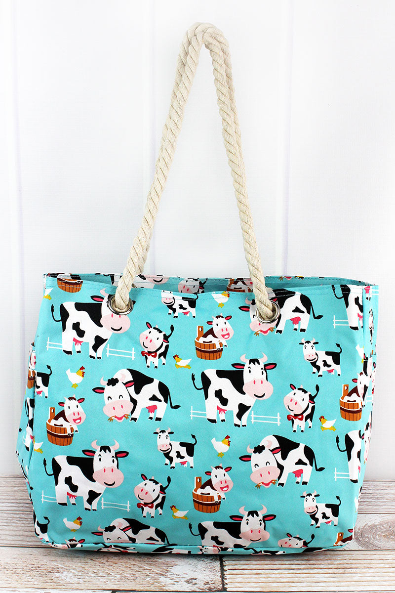 NGIL Udderly Cute Cows Rope Handle Tote