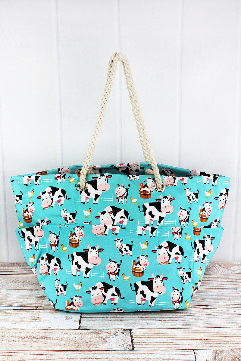 NGIL Udderly Cute Cows Rope Handle Beach Tote