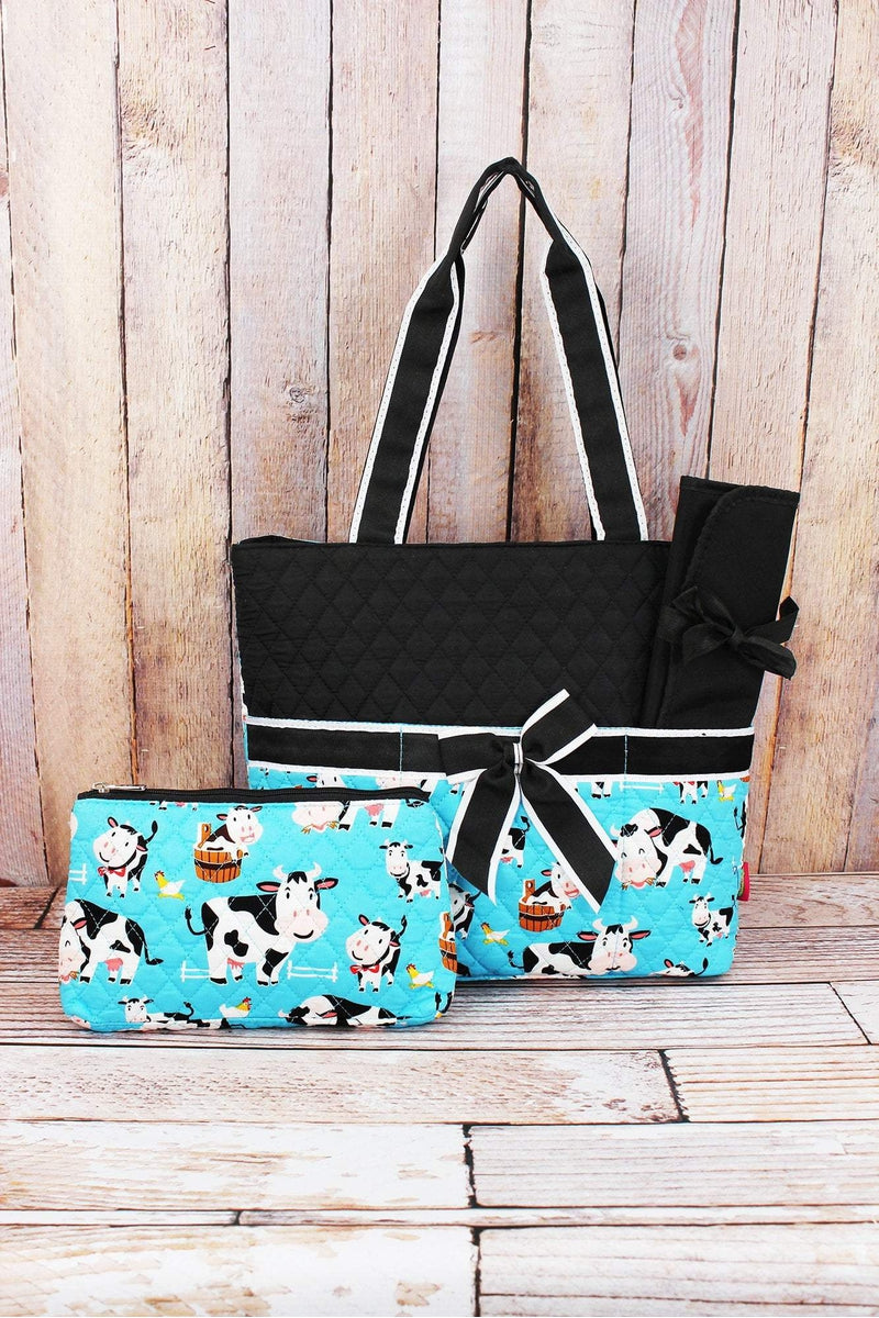 NGIL Udderly Cute Cows Quilted Diaper Bag with Black Trim