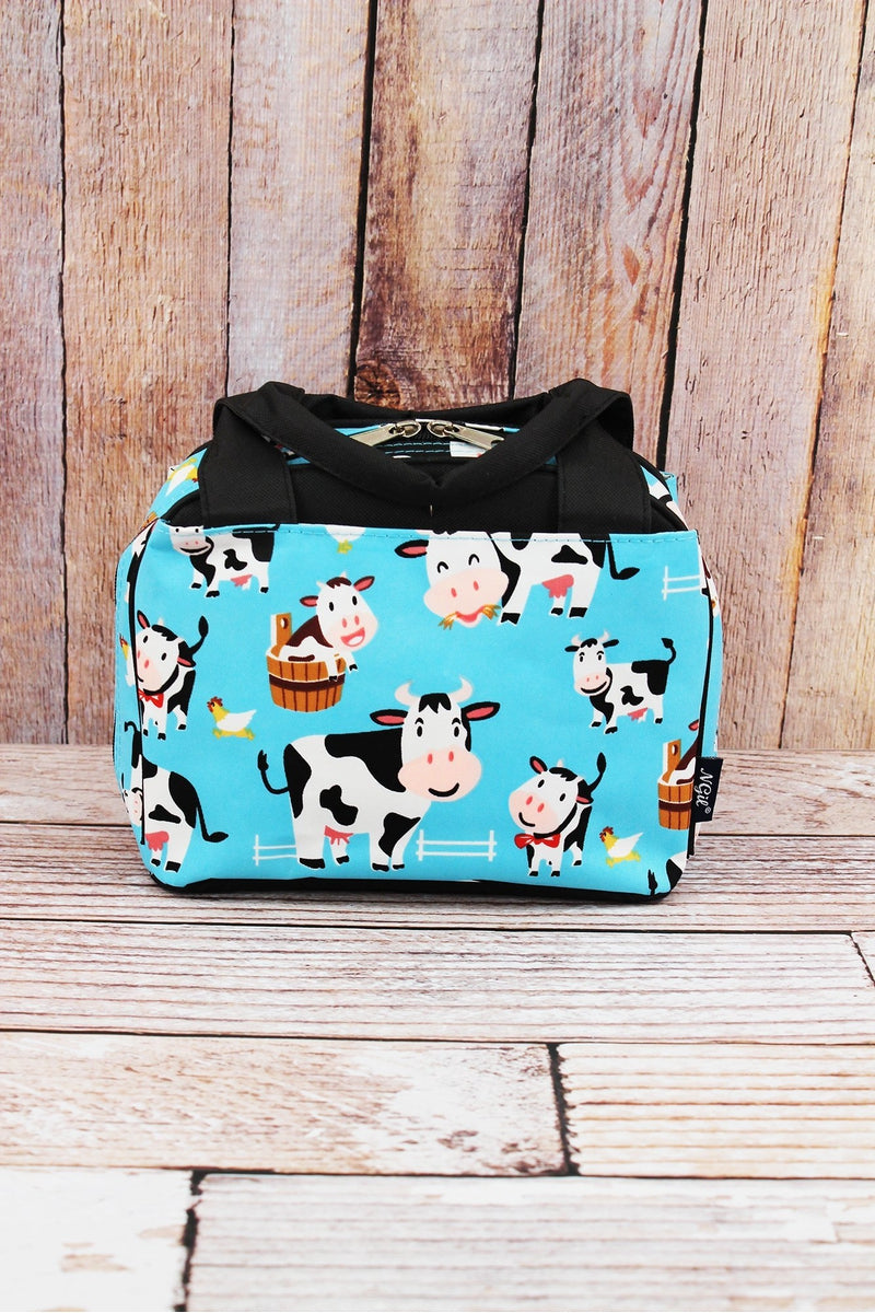 NGIL Udderly Cute Cows Insulated Bowler Style Lunch Bag with Black Trim