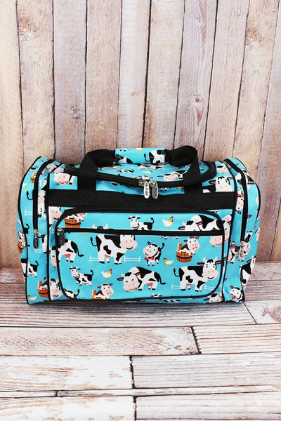 NGIL Udderly Cute Cows Duffle Bag with Black Trim 20""