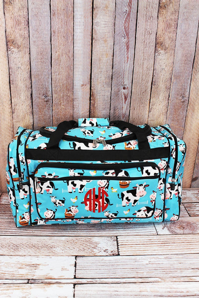 NGIL Udderly Cute Cows Duffle Bag with Black Trim 23""