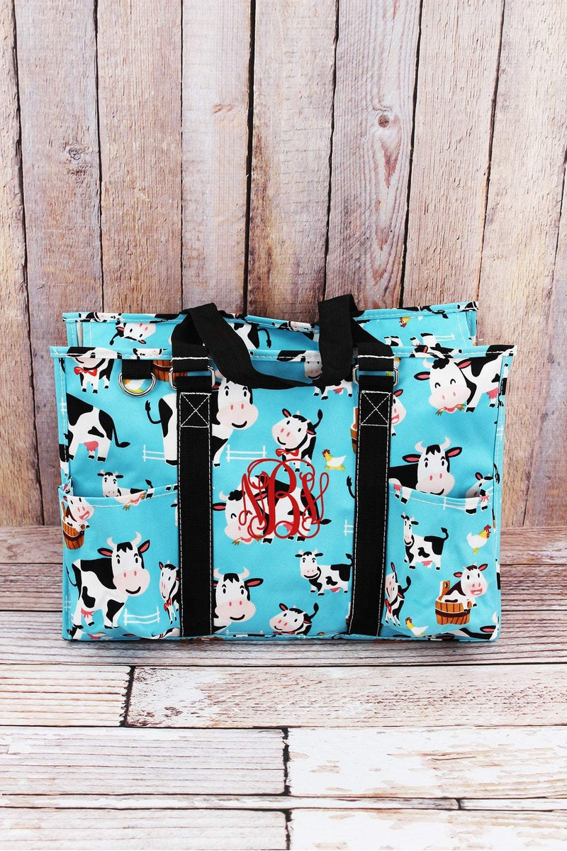 NGIL Udderly Cute Cows Utility Tote with Black Trim