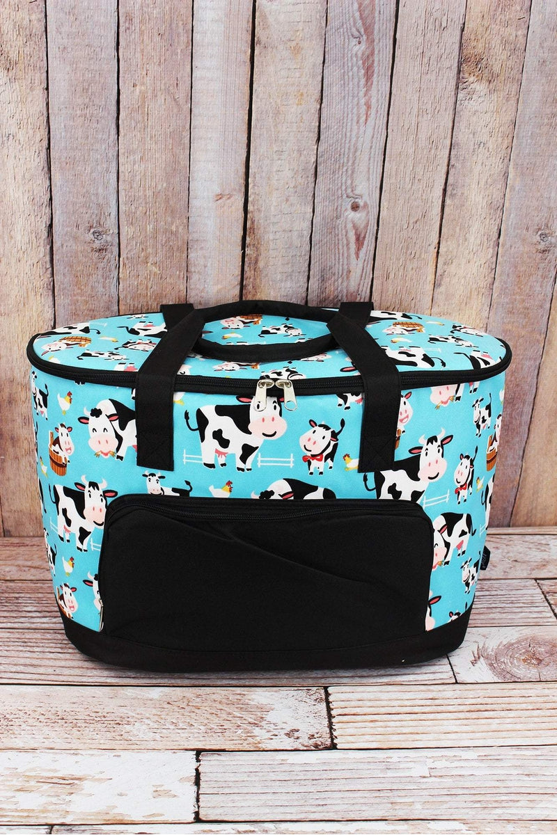 NGIL Udderly Cute Cows and Black Cooler Tote with Lid