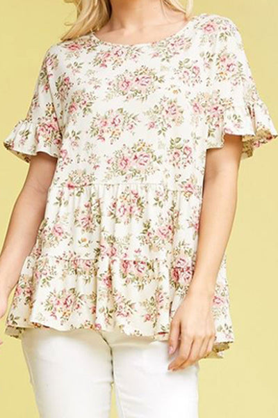 Plus Size Beige Floral Ruffled Top