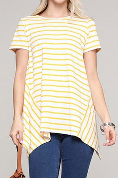 Mustard Striped Handkerchief Short Sleeve Top